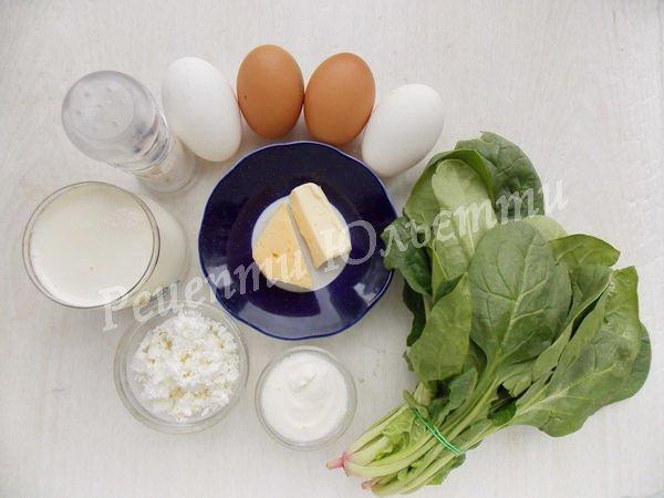 інгредієнти для омлету зі шпинатом