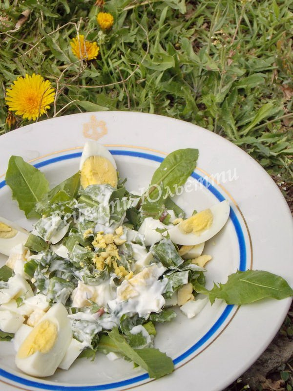 рецепт салату з листя кульбаби