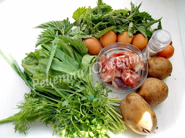 інгредієнти для  зеленого борщу з кропивою
