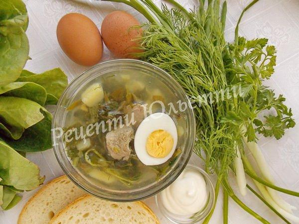 рецепт  зеленого борщу з кропивою та кваском