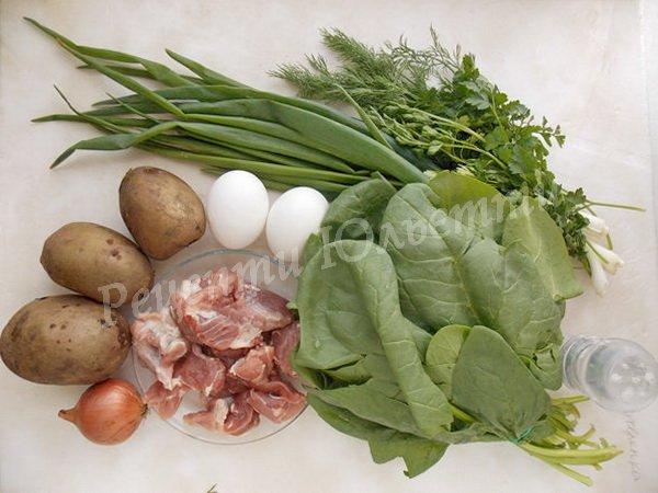 інгредієнти для супу зі шпинатом