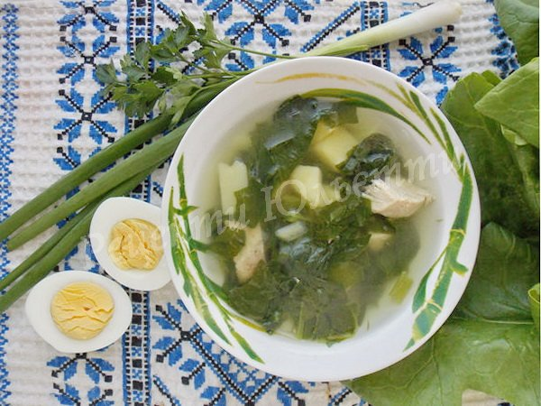 суп зі шпинатом для дітей