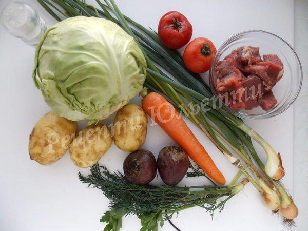 інгредієнти для молодого борщу