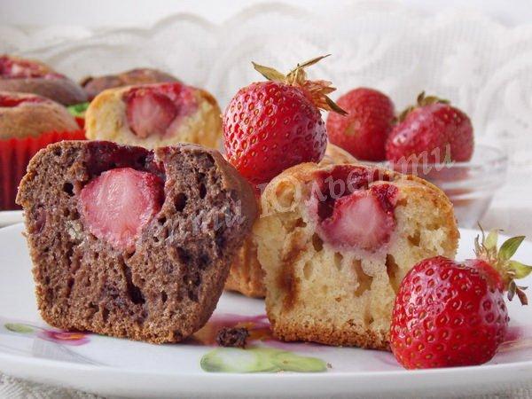рецепт кексів з полуницею