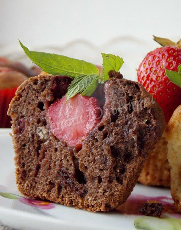 полунично-шоколадні кекси