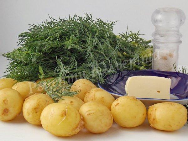 інгредієнти для картоплі із зеленню та маслом