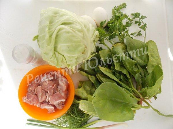 інгредієнти для зеленого борщу з капустою