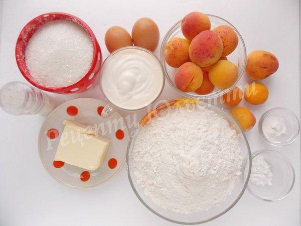 інгредієнти для пісочного пирога з абрикосами