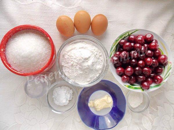 інгредієнти для пирога з вишнями