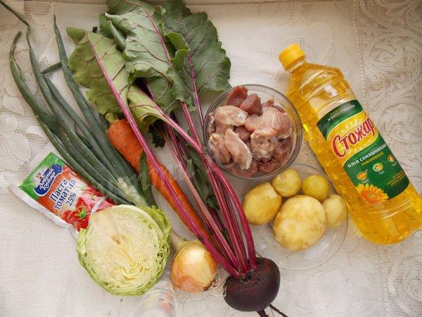 інгредієнти для борщу з буряковим бадиллям