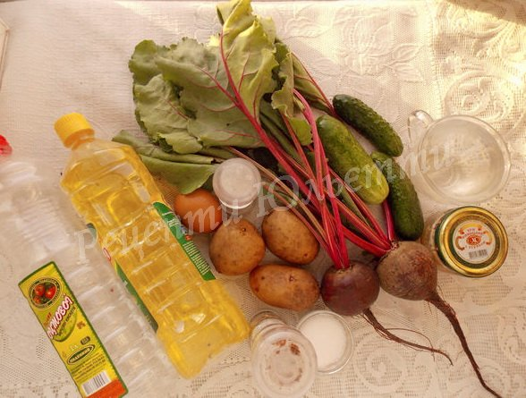 інгредієнти для холодного борщу