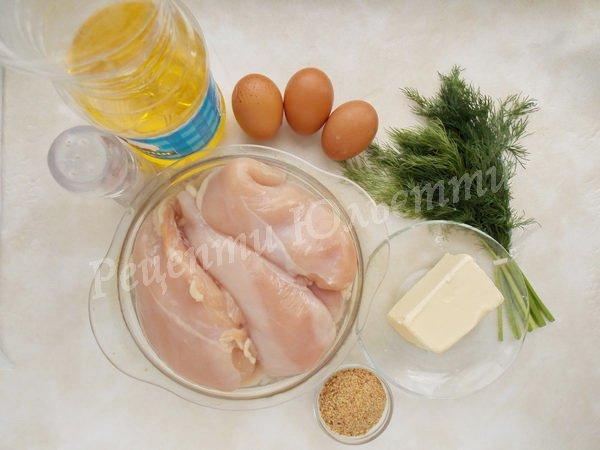інгредієнти для курячих котлети по-київськи