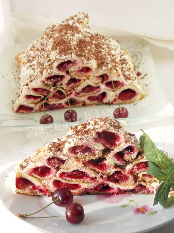 торт з вишнями Дрова під снігом