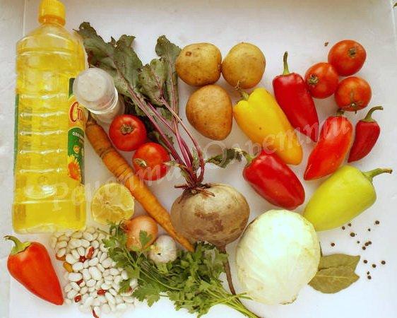 інгредієнти для борщу із болгарським перцем