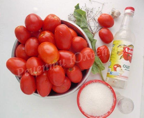 інгредієнти для солодких помідорів на зиму
