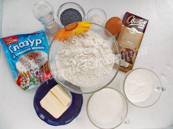 інгредієнти для печива грибочки