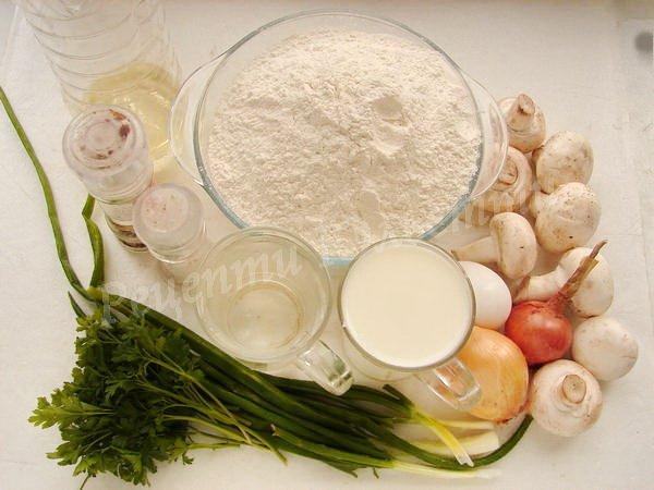інгредієнти для вареників з грибами