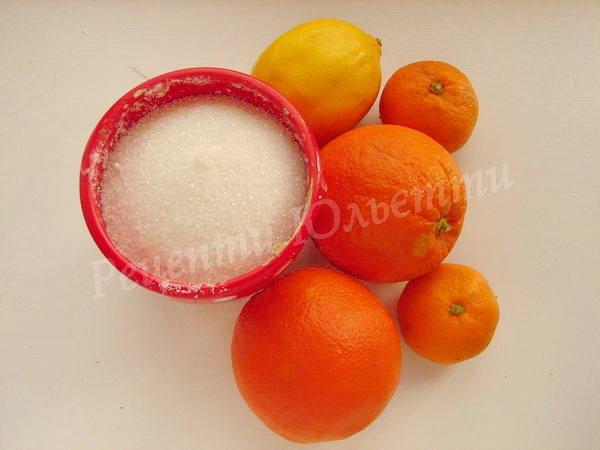 інгредієнти для цукатів з лимона та помаранча