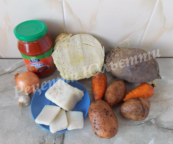 інгредієнти для борщу на салі