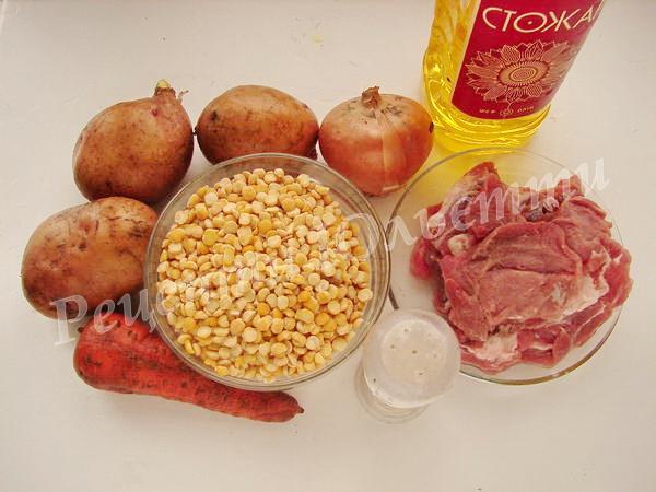 інгредієнти для горохового супу