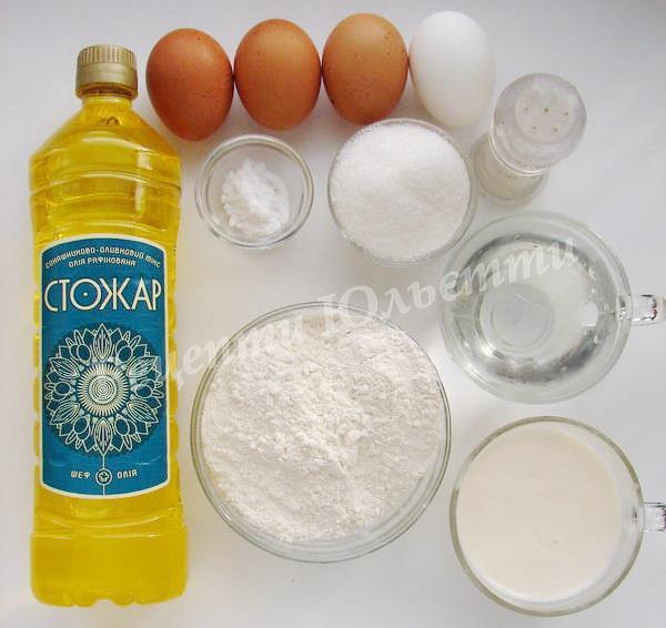 інгредієнти для млинців на кефірі