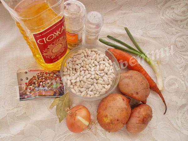 інгредієнти для супу з квасолі