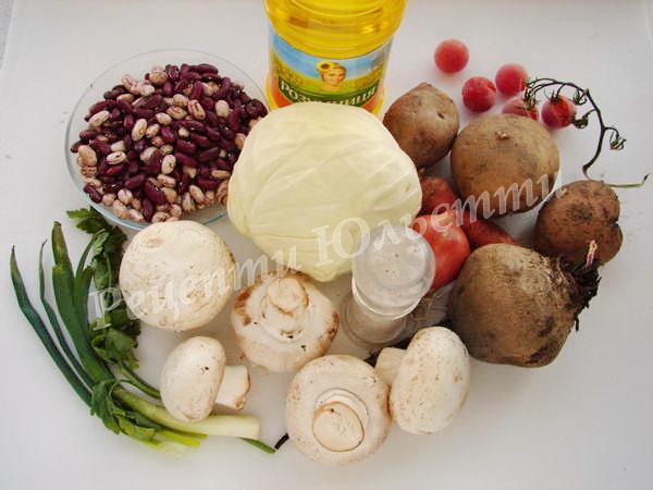 інгредієнти для борщу з грибами