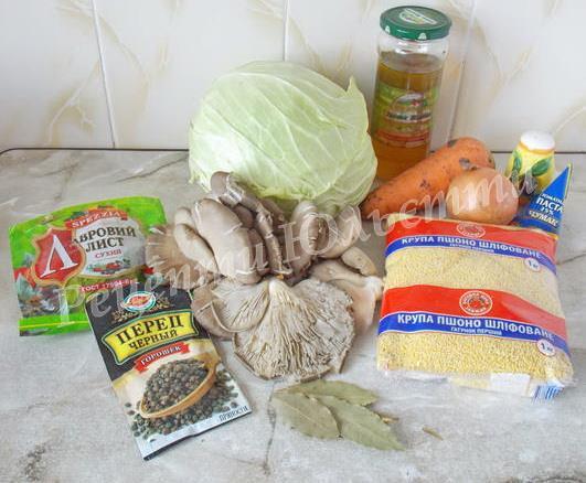 інгредієнти для голубців з грибами