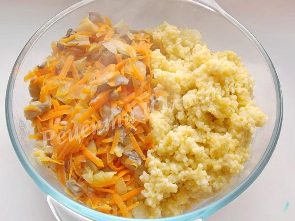 поєднуємо рис з овочами та грибами