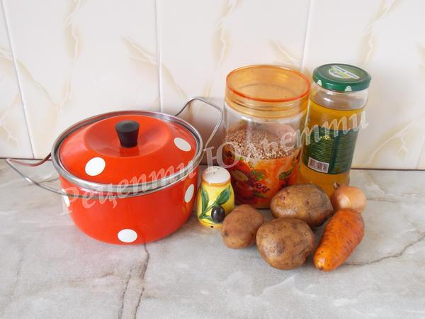 інгредієнти для приготування гречаного супу