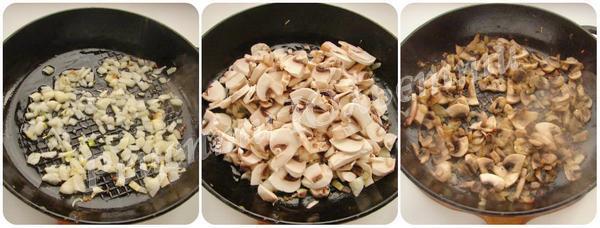 обсмажимо гриби  з цибулею