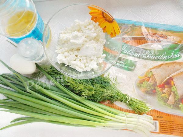 інгредієнти для лаваша із сиром