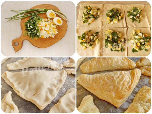 листкові пиріжки з яйцем та цибулею