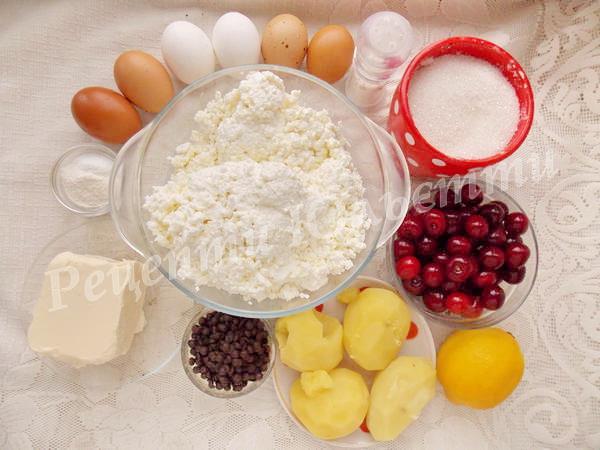 інгредієнти для сирника з вишнями
