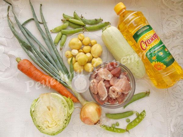 інгредієнти для приготування рагу