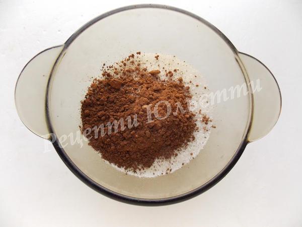 змішуємо цукор з какао