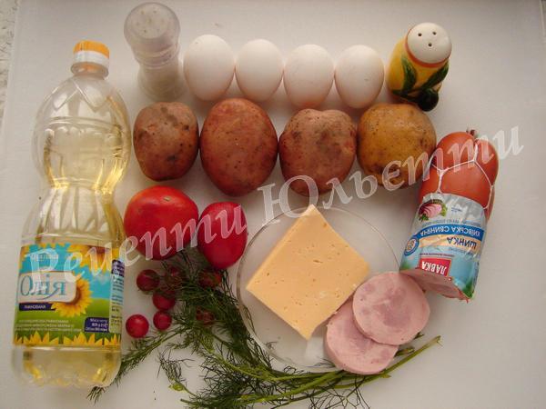 інгредієнти для картопляної піци