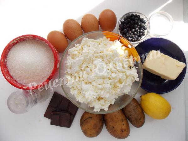 інгредієнти для Львівського сирника із чорницею