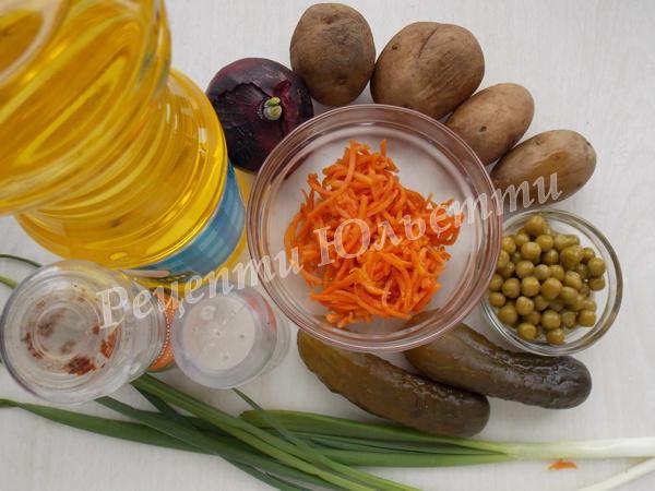 інгредієнти для салату із морквою по-корейськи