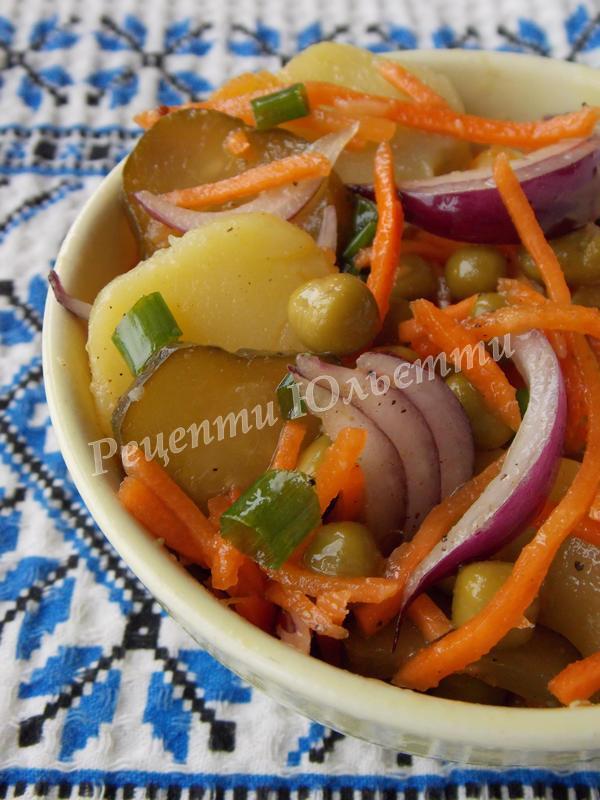 салат із морквою по-корейськи з горошком