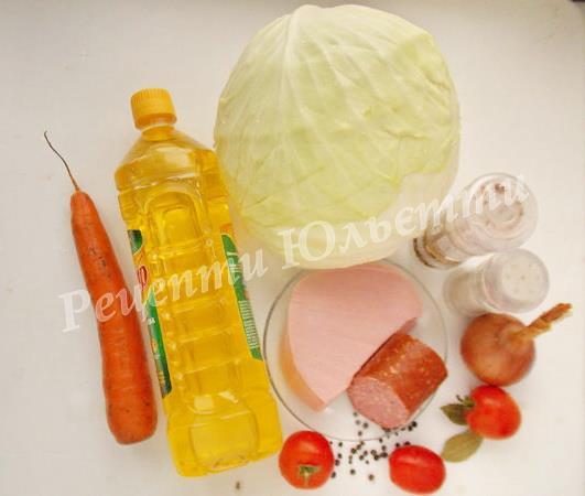 інгредієнти для тушкованої капусти