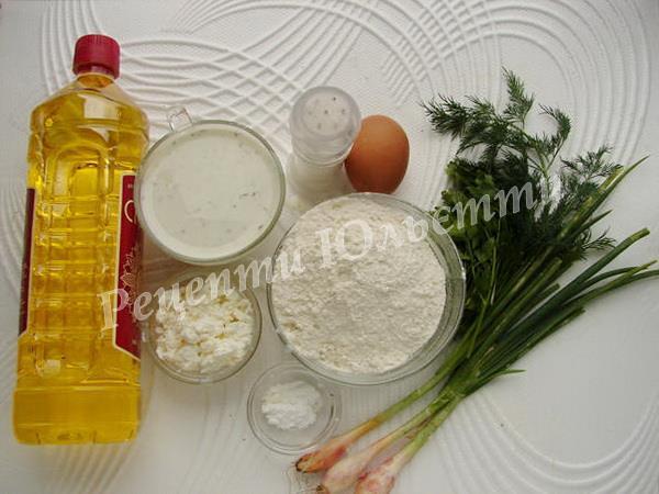 інгредієнти для оладок із зеленню