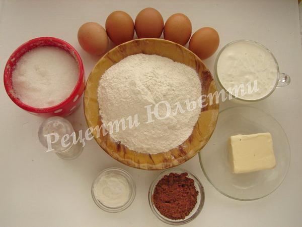 інгредієнти для пирога зебра