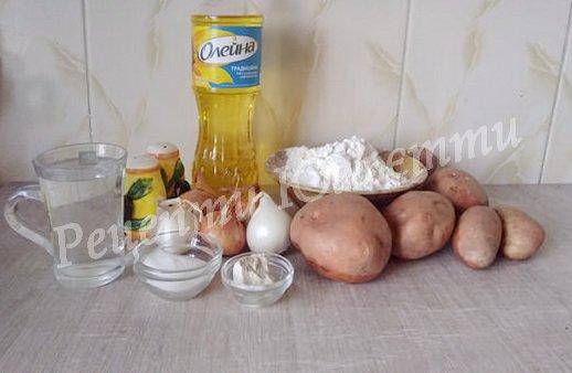 інгредієнти для дріжджових пиріжків з картоплею